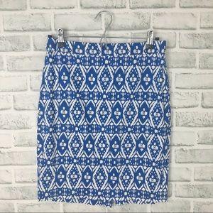 J. CREW Batik Ikat Print Cotton Pencil Skirt